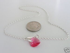 Anklet-Ankle-Bracelet-925-Sterling-Silver-Chain-Made-with-Swarovski-Heart-Charm