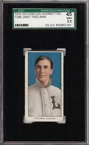 Rare 1909-11 T206 Jake Thielman Sovereign 350 Louisville SGC 45 / 3.5 VG +