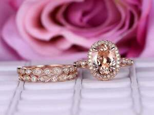 3Ct Oval Cut Morganite Trio Engagement Wedding Ring Solid 14K Rose Gold Finish