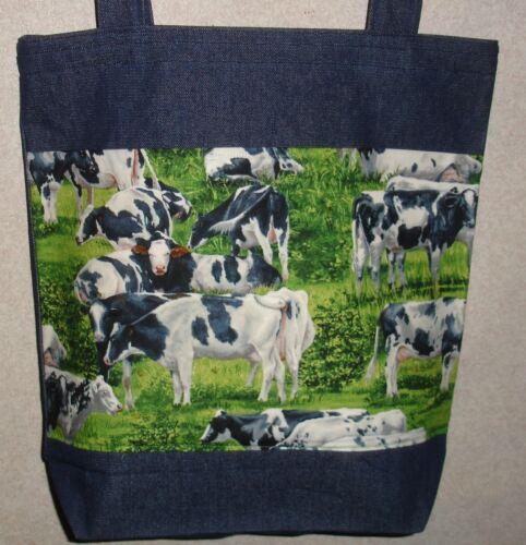 NEW Large Handmade Cow Cows Holstein Dairy Farm Denim Tote Bag