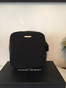 Leather Armani Patent Handle Giorgio Black Train Makeup Case eDYWE2bH9I