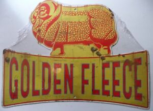 GOLDEN-FLEECE-RAM-AGED-LOOK-DIE-CUT-ALL-WEATHER-Metal-Tin-Sign-545H-X-410W