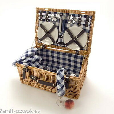 4 PERSON WICKER PICNIC HAMPER BASKET BLUE BY LA ROCA