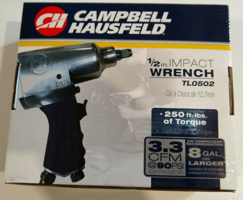 "- New Campbell Hausfeld 1//2/"" Air Impact Wrench 250 ft lbs TL0502 of Torque"