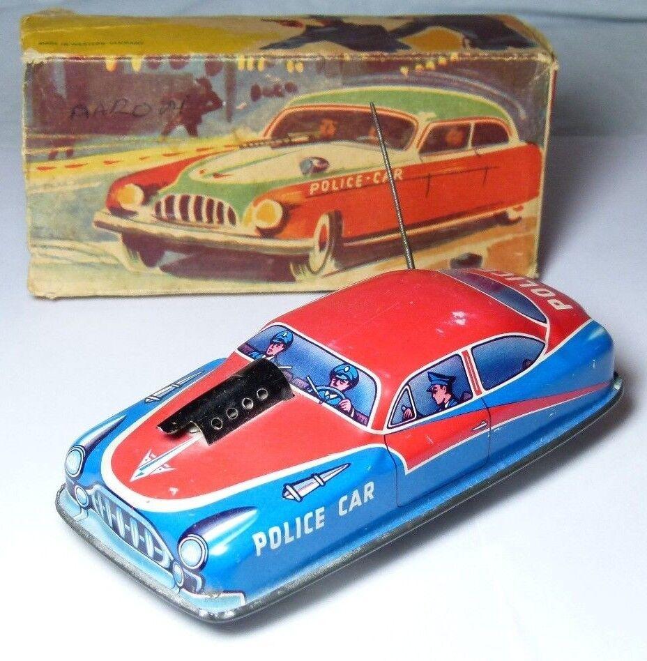 Raro en Caja Hojalata Juguete Philip niedermier 330 máquina pistola de policía coche C1950s