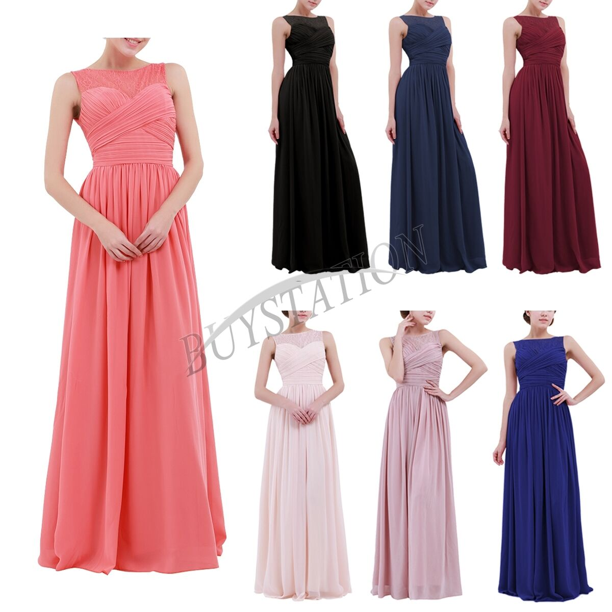 Womens Formal Lace Long Dress Prom Evening Party Cocktail Bridesmaid Wedding