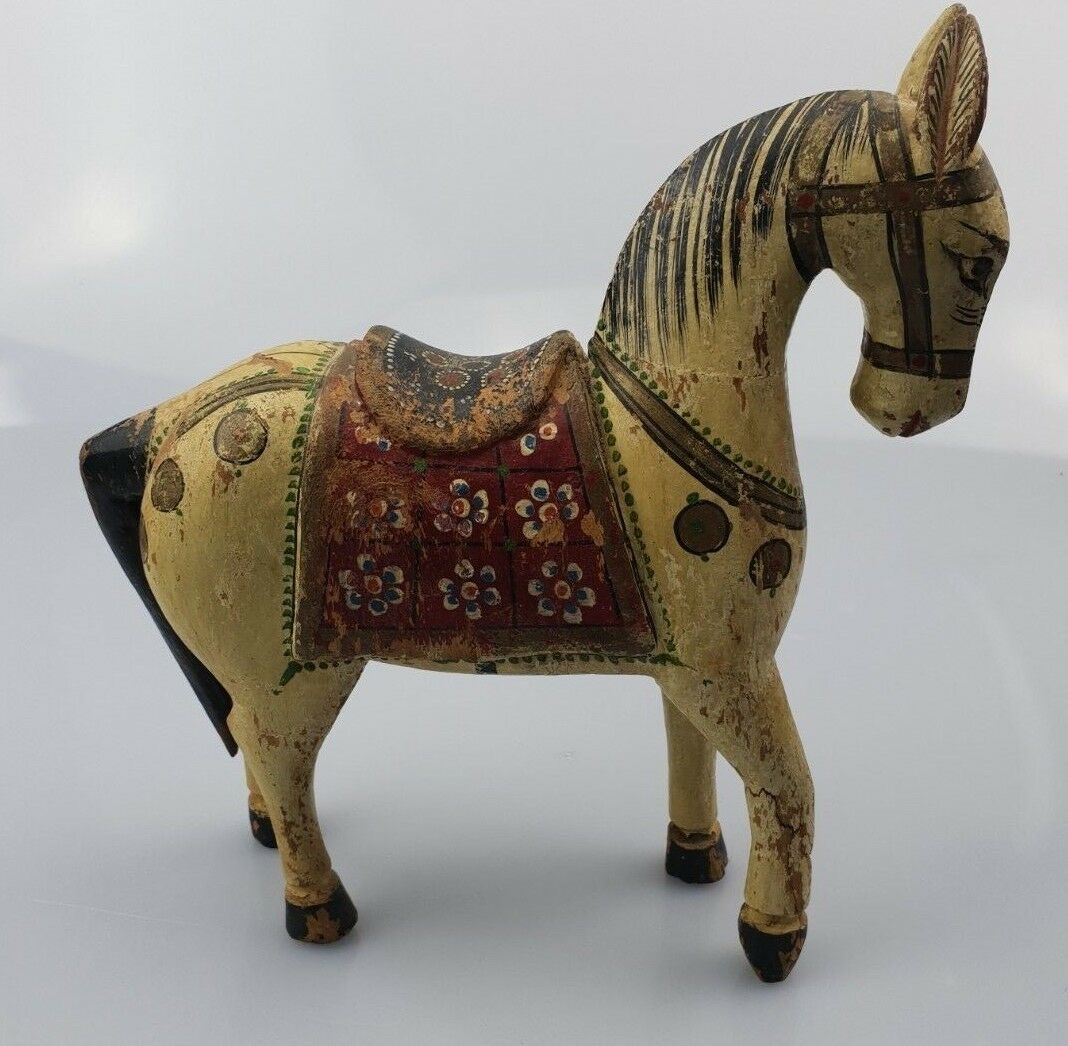 CC  Vintage  Indian  Wooden  Donkey  Hand  Painted  Saddle  Cloth