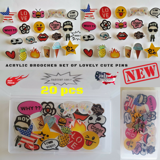 49790ae8906 Lovely Acrylic Brooches Collar Cute Pin Badge Corsage Cartoon Brooch Jewelry  20p for sale online | eBay