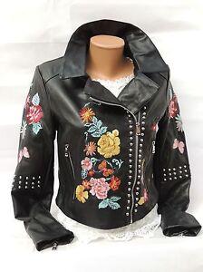Damen-Biker-Jacke-Kunstlederjacke-mit-Blumenstickerei-Gr-XS-Restbestand