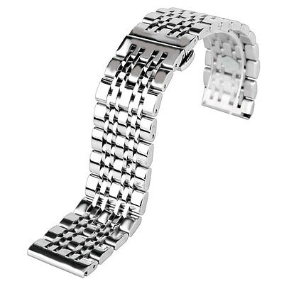 Silver 20/22/24mm Stainless Steel Mens Women Wrist Watch Band Strap Replacement
