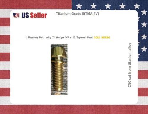 M5 x 16mm Titanium Bolt Taper Head GOLD Nitride GR5 for stems Ti Bolt 1 BOLT