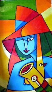 Charmant ... Peinture TOILE Musicienne CRYLIQUE 60X105 CM SIGNE Art