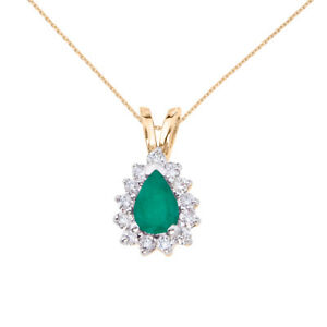 14k-Yellow-Gold-6x4-mm-Pear-Shaped-Emerald-and-Diamond-Pendant-with-18-034-Chain