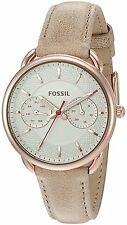 Fossil Women's ES4007 Tailor Multifunction Silver Dial Light Brown Leather Watch