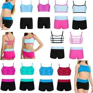 Kid Girl Sports Dance Outfit Camisole Crop Top+Booty Shorts Ballet Gym Jazz Wear