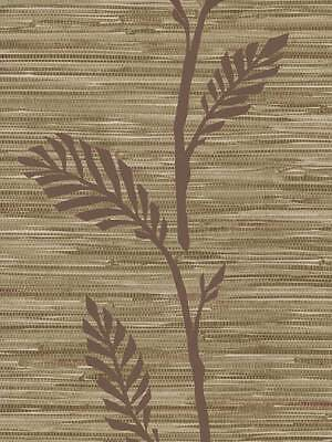 Faux Plum and Beige Grasscloth with Plum Leaf / Vine Overlay Wallpaper 40549451