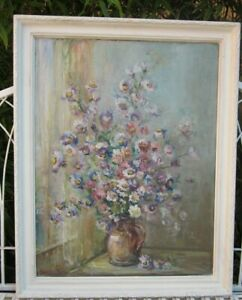 SIGNED-OLD-ANTIQUE-OIL-PAINTING-STILL-LIFE-OF-FLOWERS-IN-JUG-DAISIES