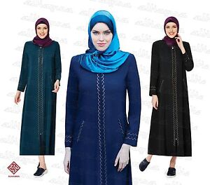 Women-Ladies-Full-Sleeve-Coat-Style-Abaya-Modest-Jilbab-Turkish-Ferace-AL6101