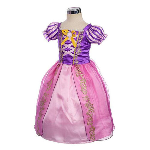 Girls Tangle Rapunzel Fancy Dress Up Princess Party Cosplay Outfit Costume Gifts