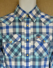 HOLLISTER blue checked plaid casual shirt UK SMALL S