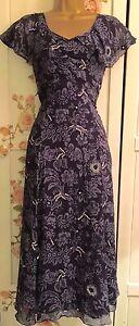 Size Splendida Blue Dress 10 L grigio Uk Bennett Fit Flare K Silk 6zO4aw6x