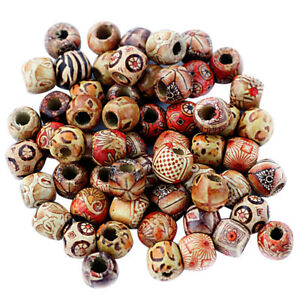 Details About 100pcs Diy Mixed Large Hole Ethnic Pattern Stringing Wood Bead Jewelry Supply