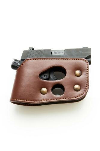 BLACK OR BROWN SHOOT THRU POCKET LEATHER HOLSTER FOR KAHR P380