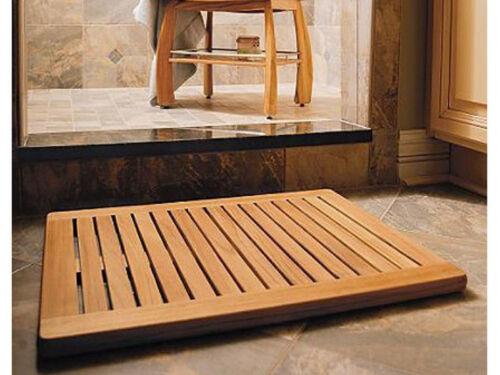 """TEAK WOOD RECTANGLE DOOR SHOWER SPA BATHROOM FLOOR MAT INDOOR OUTDOOR 24/"""" x 18/"""""""