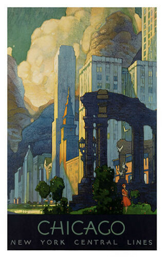 Chicago Vintage Travel Poster reproduction