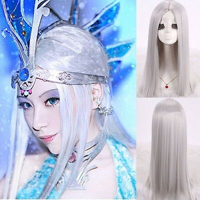 Silver Grey Wig Long Straight Hair Costume Anime Cosplay Snow Girl Full Wigs