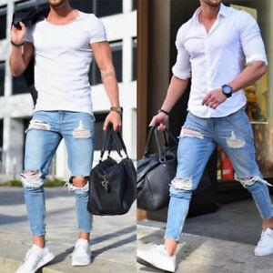 Fashion-Men-039-s-Ripped-Skinny-Biker-Jeans-Destroyed-Frayed-Slim-Fit-Denim-Pants-US