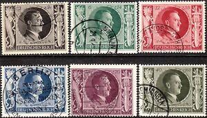 Stamp-Germany-Mi-844-9-Sc-B231-6-1943-WWII-3rd-Reich-Hitler-Birthday-Hitler-Used