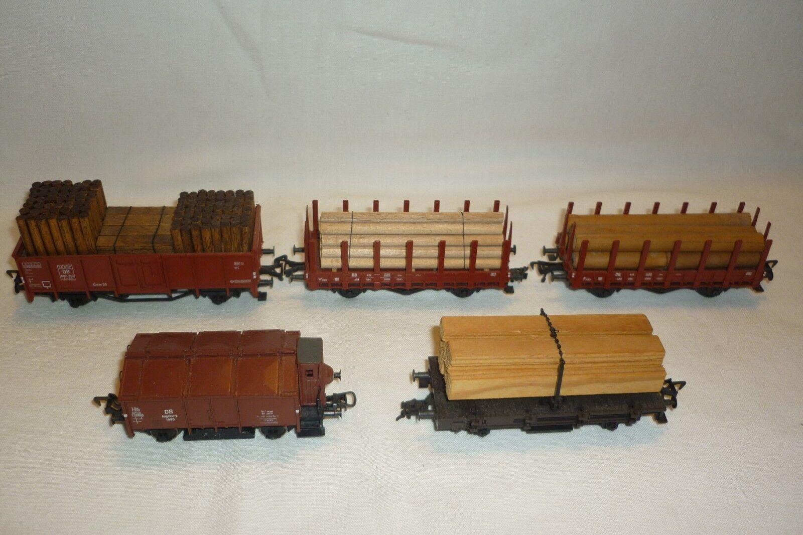 Fleischmann - Escala H0 - Conjunto 5 Vagón de Mercancía Vea las Fotos -