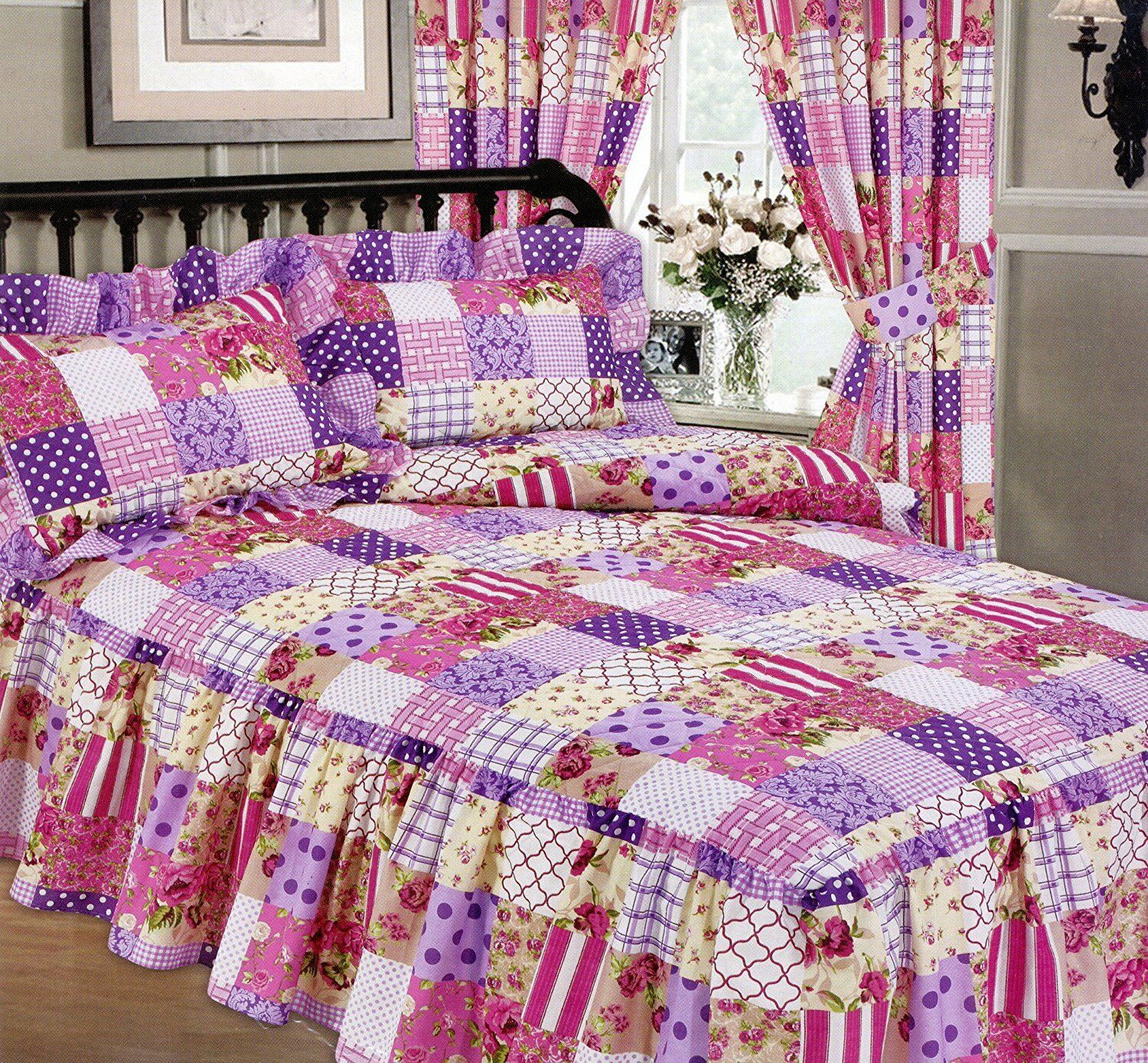 KING SIZE PATCHWORK BERRY LUXURY QUILTED FITTED BEDSPREAD FRILL purpleC WHITE