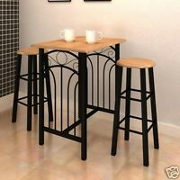 Bar And Stool Set Table Chairs 3 Pieces Black Breakfast Kitchen Dining Furniture