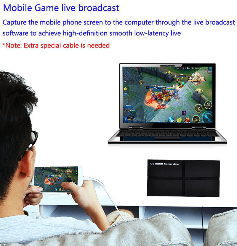 U3 hd60 Live HDMI Game Video Capture Video Streaming YPBPR AV For PS3 PS4 XBOX