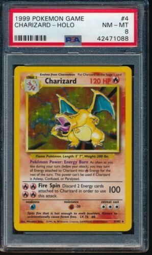 PSA 8 CHARIZARD 1999 Pokemon Base Unlimited #4//102 Holo Non-Shadowless NM-MINT
