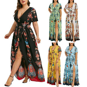 Plus-Size-Fashion-Women-Butterfly-Printed-V-Neck-Short-Sleeve-Casual-Long-Dress