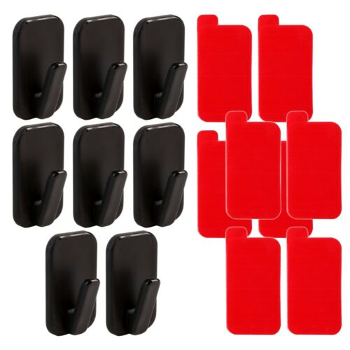 8 x BLACK PERMANENT WALL HOOKS Sticky Adhesive NO NAILS Strong Dog Lead Keyring