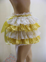 Sissy Adult Baby Yellow Gingham Allround Diaper Cover Panties Waterproof Option