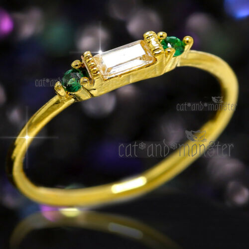 9K YELLOW GOLD GP Emerald Barguette Ice Crystal Ladies Stack Finger Knuckle Ring