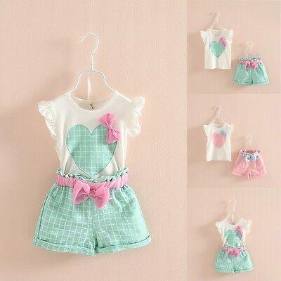 Kids Baby Girls Sleeveless Heart Bow Tops T-Shirt+Plaid Short Pants Outfits M71