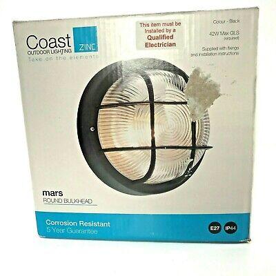 Coast Zinc Outdoor Lighting Mars Round Bulkhead Black Corrosion Resistant Light Ebay