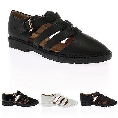 Nuevo para mujer señoras cortaron el abrochado Gladiador Geek Chelsea Zapatos Botas Talla 38