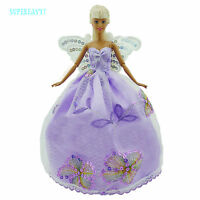 Wedding Party Dress Butterfly Wing Gown Veil Clothes For Barbie Doll Accessories