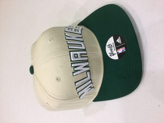 1e595ff4fb69c adidas Milwaukee Bucks Youth Cream hunter Green on Court Snapback  Adjustable Hat