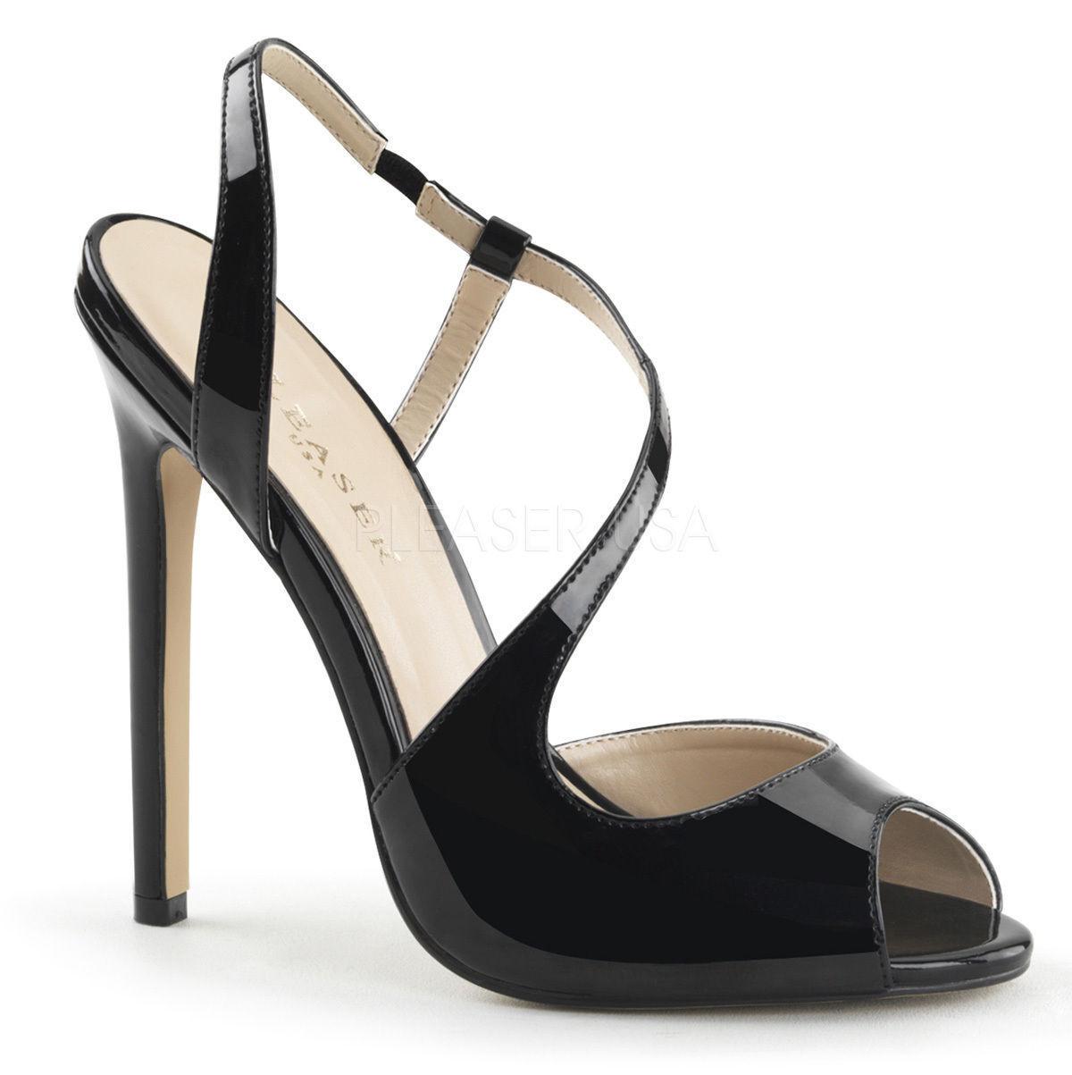 Descuento barato Sexy-10 elegante Pleaser Damen High Heels Slingsandaletten schwarz Lack Gr 40