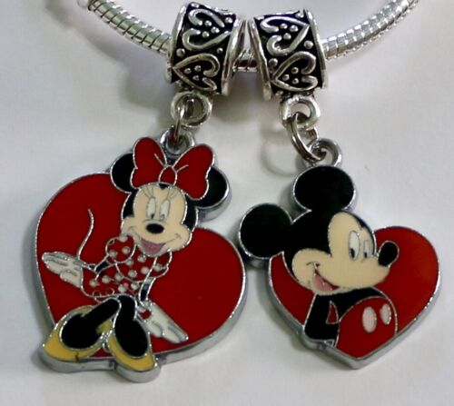 MICKEY & MINNIE MOUSE HEART DISNEY Pendant Charm FOR Charm Bracelet or Necklace