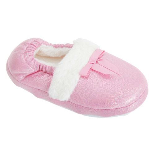 Kids Girls  Faux Fur Trim Glitter Sparkle Slippers Size 9-3