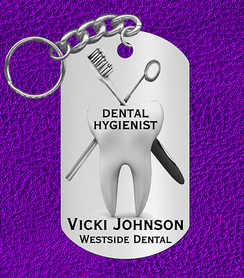 DENTAL Hygienist Engraved Keychain Gift with Name /& Clinic or Graduation Gift